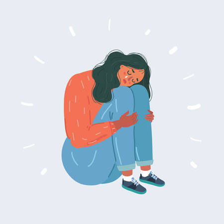 Cartoon vector illustration of woman suffering from depression sitting on floor and crying. Teen character on white isolated background.