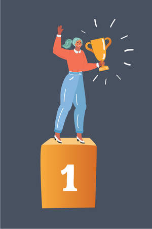 Cartoon vector illustration of woman winner standing in first place on a podium holding up trophy. Human character on dark background. 向量圖像
