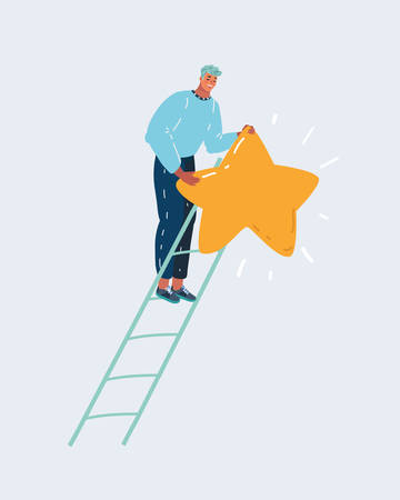 Cartoon vector illustration of reaching goal concept. Man climbed high up on stairs, holds the biggest star. Designer creating his peace of art , dark blue sky night background. Archivio Fotografico - 131675578