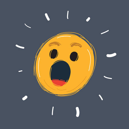 Cartoon vector illustration of Oops emoticon on dark.
