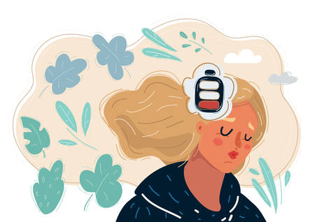 Cartoon vector illustration of Tired woman. Low battery mind. Need to relaxation and rest.