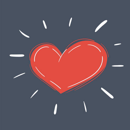Cartoon vector illustration of vector heart on dark background.
