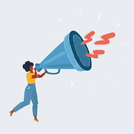 Woman with Afro hair with Megaphone on white
