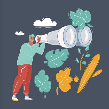 Cartoon vector illustration of man with big binoculars on dark background. 写真素材 - 140040587