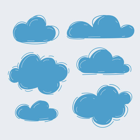 Cartoon vector illustration of handdrawn clouds collection on white background.