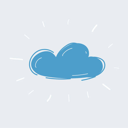 Vector illustration of blue cloud on white background.