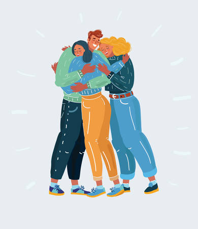 Cartoon vector illustration of Friends. get together. Teamwork Society, popular guy, Friendship and support. Man and woman hugging each other