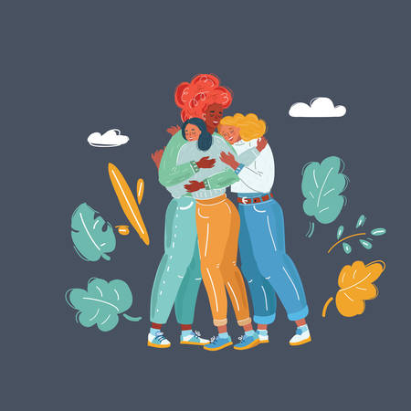 Cartoon vector illustration of Congratulation and friendship embrace. Thre beautiful girls get together and give hug to each other. Best friends and support concept.