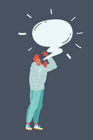 Cartoon vector illustration of man make Announcement. Man shouting something on dark. Speech bubble above him. 일러스트