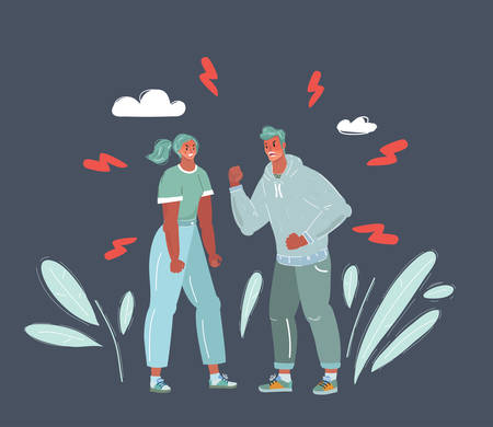 Cartoon vector illustration of couple having a heated argument. Man and woman has quarrel. Divorced, conflict concept.