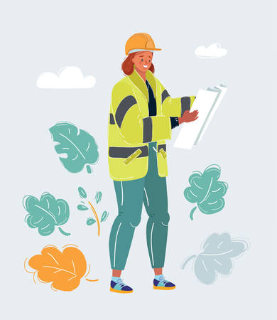 Cartoon vector illustration of a female construction engineer worker with print plan. Ilustração