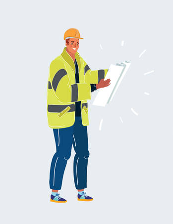 Cartoon vector illustration of Technician, builder and engineer, Construction Worker man with big plan of building in his hands.