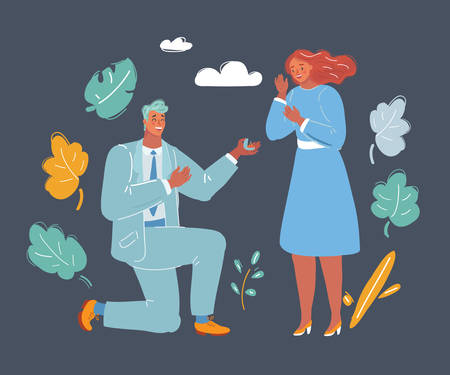 Cartoon vector illustration of marriage proposal. Man on his knee give a ring to pleasantly surprised woman