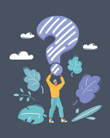 Cartoon vector illustration of man standing with big question mark in his hands on dark background.