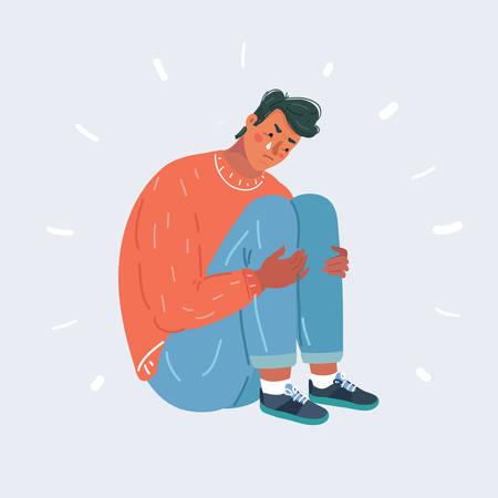 Cartoon illustration of Upset crying man