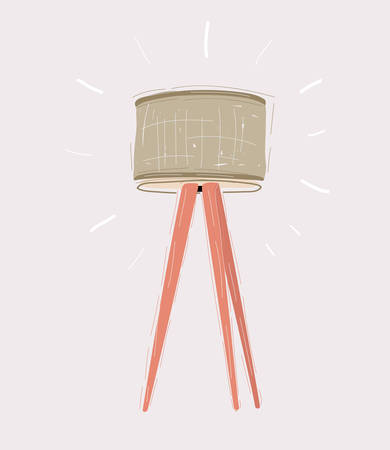 Tripod light lamp with lampshade on white. Ilustrace