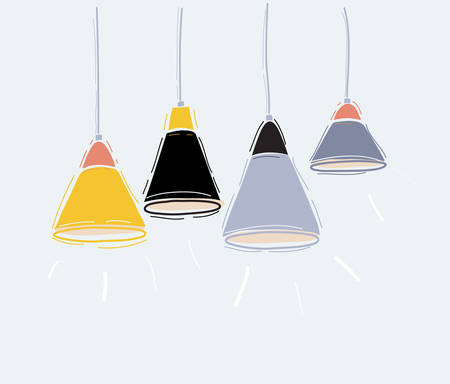 Vector set of pendant hanging lamps on white. Illustration