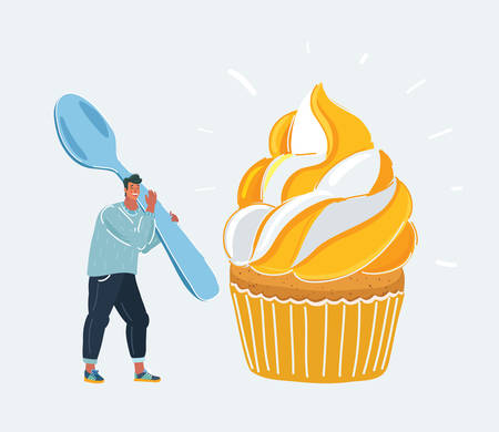 Character holding a fork and a spoon. Next one cupcake