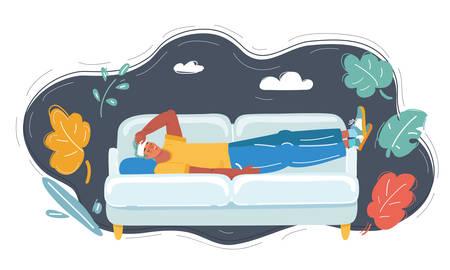 Man with headache, a hangover on sofa Çizim