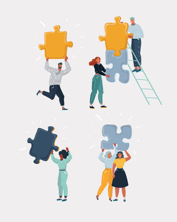 Cartoon vector illustraion of man and woman with part of puzzles. People with solution concept.