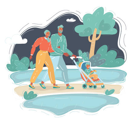 Cartoon vector illustraion of man and woman walking with them baby in the park.