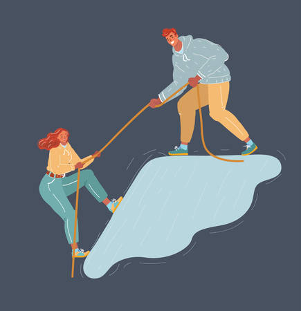 Cartoon vector illustraion of couple to help each other. Woman try to get top of hill and man help her. People on dark background.