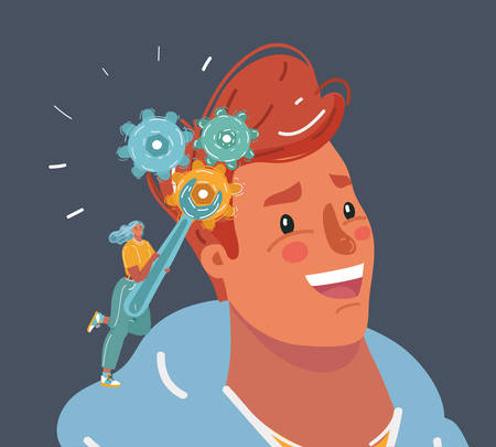Cartoon vector illustration of Human male head and a wrench. Mental health. Woman try to fix mans brain. psychotherapist, psychologist, psychological therapy or manipulation concept.