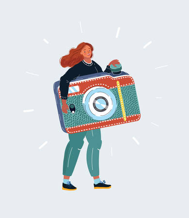 Tiny woman with big photocamera in her hands on white Banque d'images - 142144646