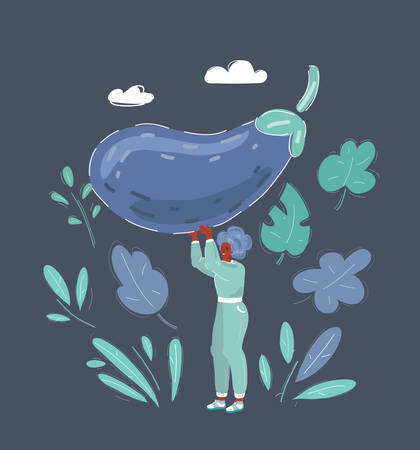 Woman with big giant eggplant in her hands. Character on dark background.