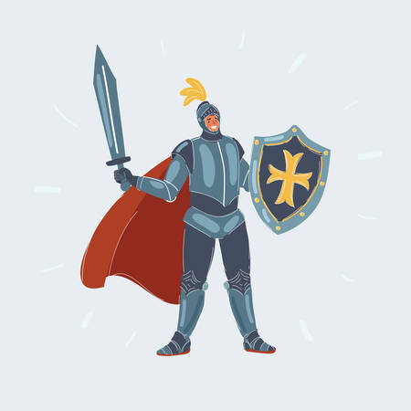 Cartoon vecor illustration of knight man in armor with sword and shield on white.