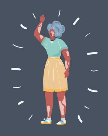 Cartoon vecor illustration of vitiligo woman on dark background Vettoriali