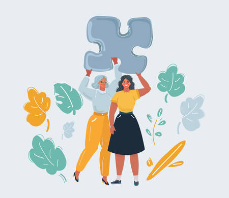 Two woman hold piece of puzzle Illustration