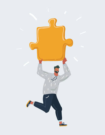 Cartoon vector illustration of Men run with giant piece of puzzle on dark background.