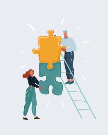 Cartoon vector illustration of people with puzzle, business concept. Team metaphor. Man and woman connecting pieces of puzzles. Human characters on white background.