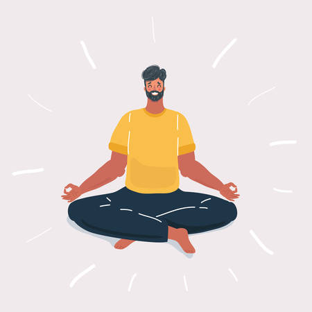 Cartoon vector illustration of Doing Yoga man on white background.