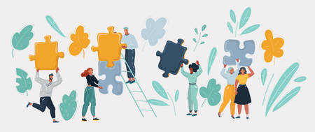 People with puzzles pieces. Colution and teamwork concept