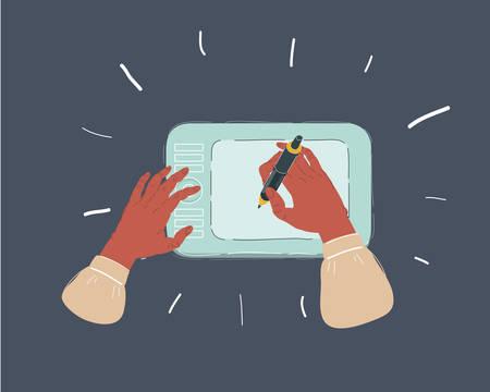Human hands draing digitizer, tablet, designer working Ilustração