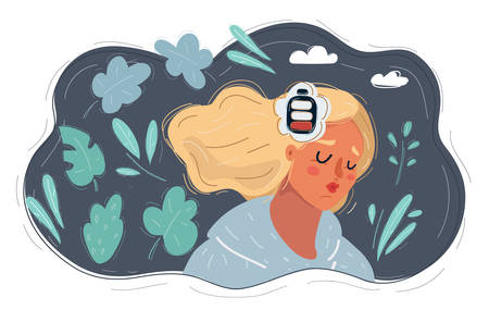 Cartoon vecor illustration of woman with battery in her head on dark background.