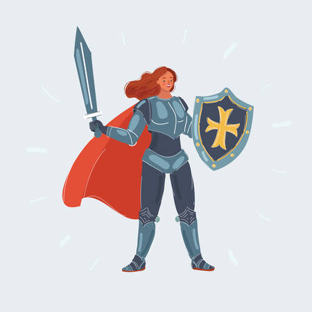 Vector cartoon illustration of knight woman with sword and shield in her hand on white.