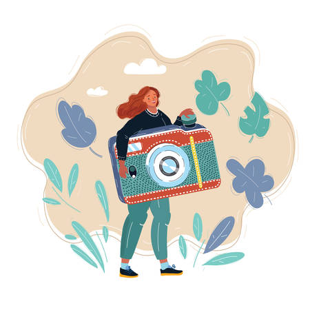 Illustration of woman with big camera. Girls take photo pictures