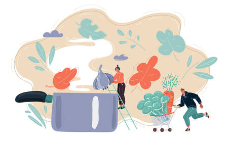 Cartoon vector illustration of tiny woman cooking. She throws garlic into a big pan. Man hepl her, picking up vegetables in a supermarket cart 向量圖像