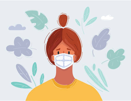 Vector illustration of womans face in medical mask