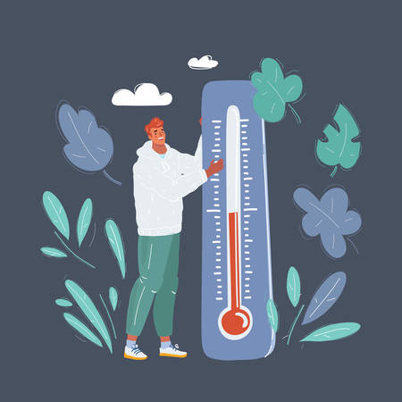 Man with big thermometer in him hands. He takes measurements of the environment temperature.
