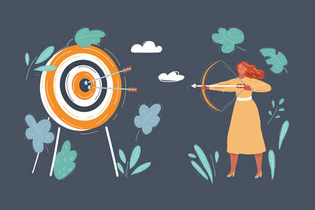 Vector illustration of woman shout in target with her bow