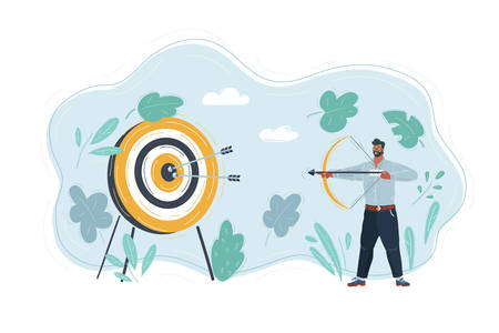 Vector illustration of man shout in target with her bow.