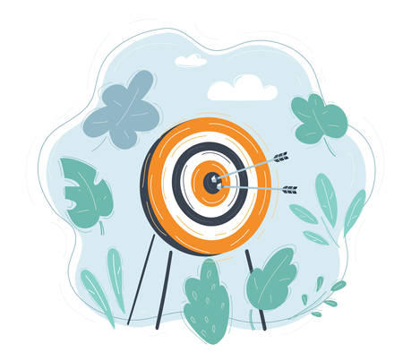 Vector illustration of target with arrow on blue