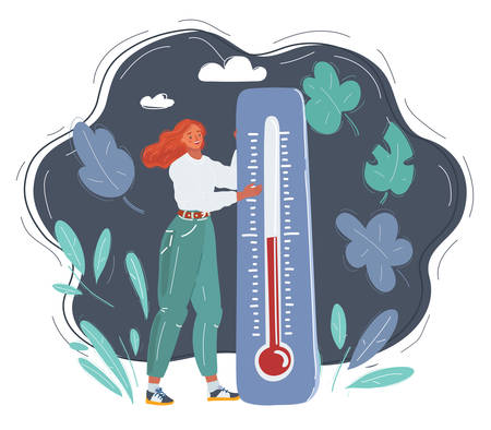 Cartoon vector illustration of Young beautiful woman froze and thermometer showing warm temperature on dark backgorund. Ilustrace