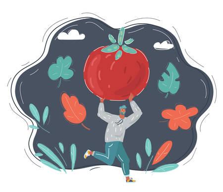 Vector illustration of running man with tomato.
