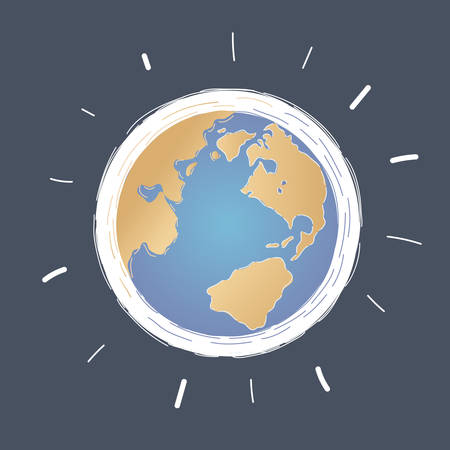 Cartoon vector illustration of Earth globe on dark.