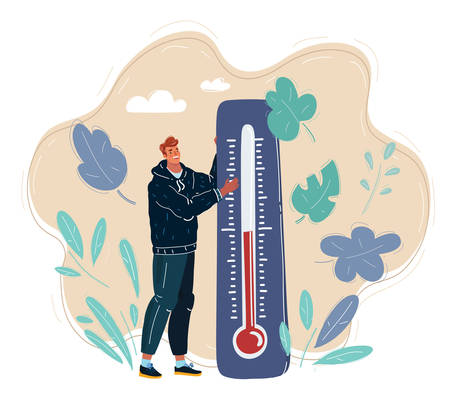 Vector illustration of Earth of Global Warming. Tiny man characters thermometer